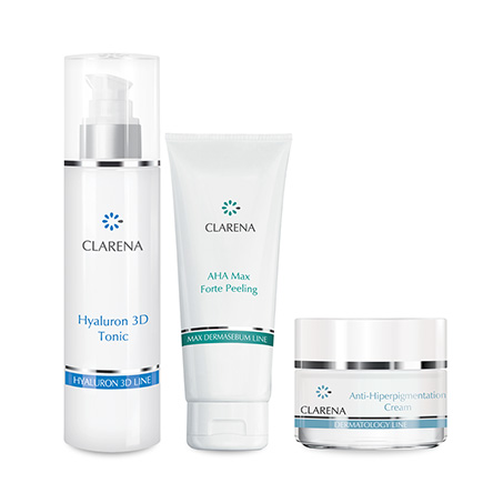 Anti - Hiperpigmentation Cream 50 ml + Hyaluron 3D Tonic 200 ml + AHA Max Forte Peeling 100 ml